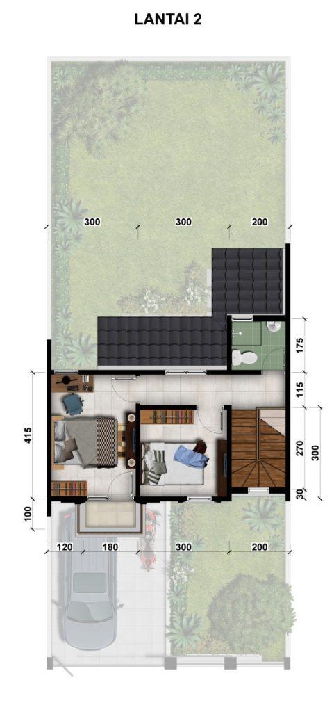 Denah Lantai 2 - Rumah tipe 78-160 Cluster Valencia - Balikpapan Regency