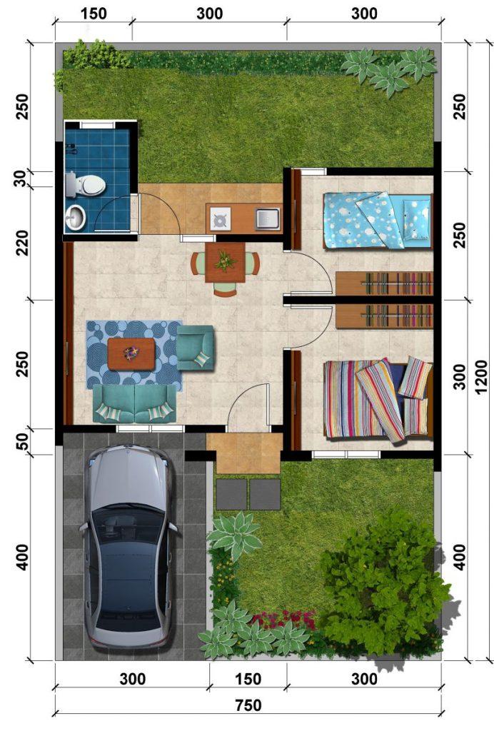 Denah Rumah tipe 36-90 Cluster Valencia